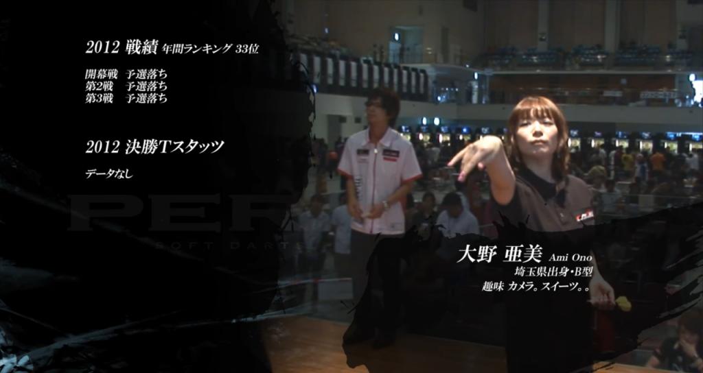 大野亜美 ダーツプロ perfect大会のひとこま